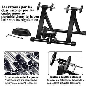 COSTWAY Bicicleta Estática de Acero Soporte Rodillo de Ciclismo Entrenamiento Palanca de Liberación Rápida para Bicicleta y Sistema de Doble Bloqueo Negro