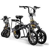 LANKELEISI Adulto plegable de tres ruedas bicicleta de montaña bicicleta...