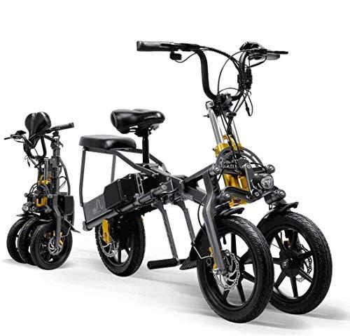 LANKELEISI Erwachsene Faltbares Dreirad Elektrofahrrad Mountainbike Fahrrad Dreirad 14 Zoll 15.6Ah Lithium-Akku Dreigang-Modus Darren Sports
