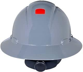 3M Full Brim Hard Hat H-808R-UV, Gray 4-Point Ratchet Suspension, with Uvicator (1 EA)