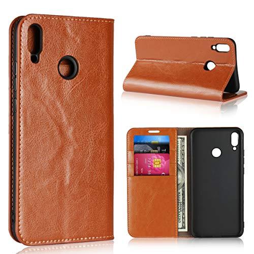 Copmob Hülle Huawei Honor 8X,Premium Flip Brieftasche Lederschutzhülle Hülle,[3 Kartensteckplätze][Bracket-Funktion][Stoßfestes TPU],Schutzhülle Handyhülle für Huawei Honor 8X - Hellbraun
