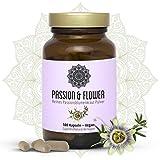 Passionsblume Kapseln I 1000 mg pro Kapsel (Kraut 250 mg/Extrakt 10:1-1 = 75 mg d.h. 10:1 vergleichbar mit 750 mg) I 100 Vegane Kapseln I Für Mehr Gelassenheit und Erholsame Nächte