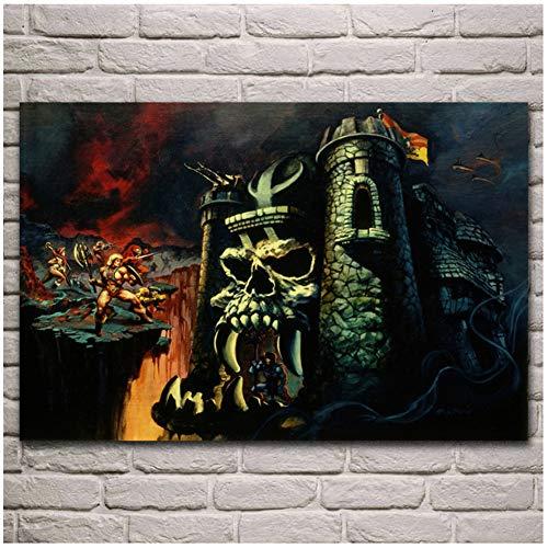 A&D He-Man und der magische Dämon Castle Poster Wohnzimmer Zuhause Wand dekorative Leinwand Seide Kunstdruck auf Leinwand -60x90cm No Frame