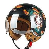 Motorcycle Half Helmets for Men and Women, Four Seasons Lightweight Vintage Open Face Helmet, Summer Sunscreen Electric Motorcycle Retro Helmet, DOT/ECE Certified (52-60cm)