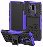 LG G7 Case, Yiakeng Dual Layer Shockproof Wallet Slim Protective with Kickstand Hard Phone Case Cover for LG G7 ThinQ 6.1' (Purple)