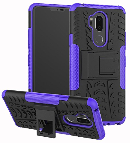 """LG G7 Case, Yiakeng Dual Layer Shockproof Wallet Slim Protective with Kickstand Hard Phone Case Cover for LG G7 ThinQ 6.1"""" (Purple)"""