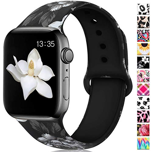 Haveda Floral Bands Compatible with Apple Watch 40mm Series 5 Series 4, Soft Pattern Printed 38mm iWatch Bands Series 3/2/1 Silicone Sport Wristbands for Women Men Kids, S/M Gray Flower