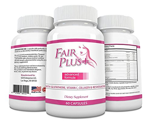 FairPlus Skin Whitening Pills Advanced Formula for Fair and Beautiful Skin with Glutathione, Vitamin C, Collagen, Green Tea, and Resveratrol (60 Capsules)