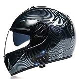Hammock Bluetooth Helmet Full Face Motorcycle Helmet Integrated Helmet with Double Visor Motorbike Helmet,DOT/ECE Approved for Locomotive Mofa Crash Moped Bobber Chopper Cruiser Racing C,S=55~56cm