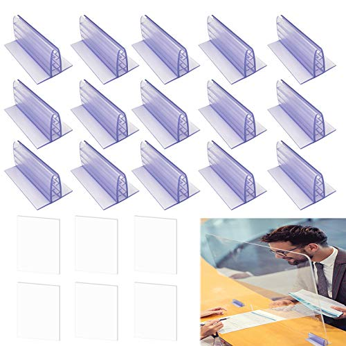 16 Pcs Adhesive Sneeze Guard Holders, Acrylic Panels Holder, Sneeze Guard Holders Plexiglass Stand for Counter, Desk, Reception, Checkout