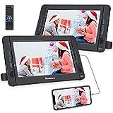 NAVISKAUTO Lecteur DVD Portable Voiture 2 Ecrans Appuie-tête de 10,1 Pouces pour Enfants Supporte HDMI Input USB SD MMC Autonomie de 5 Heures Dernière mémoire (1 Lecteur DVD et 1 Moniteur)