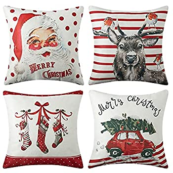 CAROMIO Christmas Pillow Covers 18x18 Set of 4,Farmhouse Christmas Decorations Pillowcase,Red Stripe Rustic Xmas Winter Holiday Cushion Case for Home Decor Tree Rustic Truck Santa Claus Stocking