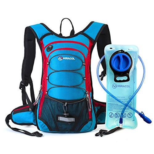 Miracol hidratación mochila con 2L agua vejiga - térmica aislamiento Pack mantiene líquido fresco hasta 4 horas – mejor engranaje al aire libre para correr, senderismo, ciclismo y mucho más (Blue + Red)
