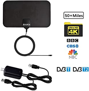 Antena de TV para interiores, de largo alcance, 60+ millas, amplificada HD, señal de TV digital, versión actualizada con cable coaxial de 16.4 pies para Geniatech MyGica TV