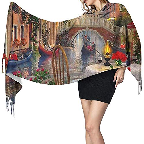 Schal Schal Wraps Cashmere Feel Schal Novel Rue Di Rivoli Paris druckt großen Schal Super Soft Warm Luxuriös für Frauen