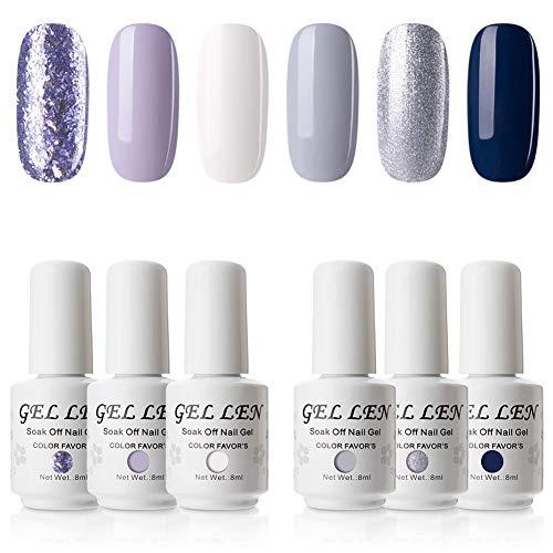 Gellen Gel Nail Polish Set - 6 Colors Romantic Lavender Grays MidnightBlue, Popular Solid Glitters Nail Art Design Colors Home Gel Manicure Kit