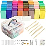 Polymer clay50 Colors , Aestd-ST Soft Clay DIY Starter kit, Oven Bake Modeling Clay, Non-Toxic, Non-Stick, with Sculpting Tools, Ideal Gift for Children and Artists