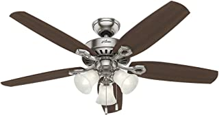 "HUNTER 53237 Builder Plus Indoor Ceiling Fan with LED Lights and Pull Chain Control, 52"", Brushed Nickel"