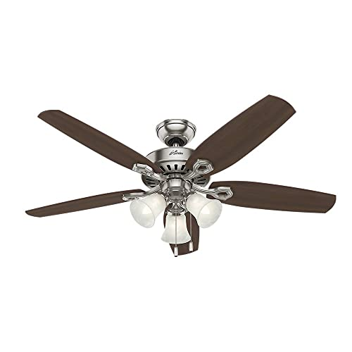 hunter 53237 builder plus 52-inch ceiling fan with five brazilian  cherry/harvest mahogany