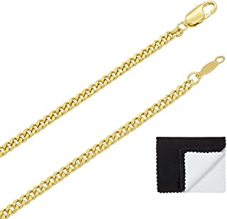 The Bling Factory 3mm 14k Gold Plated Flat Cuban Link Curb Chain Necklace (16