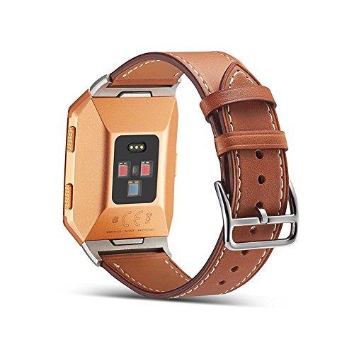 Fitbit Ionic correa de reloj de cuero, Fitbit Ionic Reemplazo bandas de reloj correa de cuero correa reloj inteligente Pulseras ajustables para Fitbit Ionic accesorios de fitness Brown