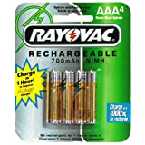 Rayovac Rechargeable NiMH Batteries, AAA Size, 4-Count Packages (Pack of 2)