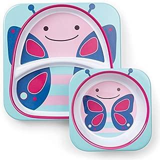 Skip Hop婴幼儿动物园主题喂食餐具,餐盘和碗餐具套装 蝴蝶 Butterfly