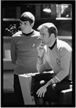 William Shatner 8 inch x 10 inch photo Star Trek Boston Legal T.J. Hooker Seated in Captain's Chair w/Leonard Nimoy Standing kn