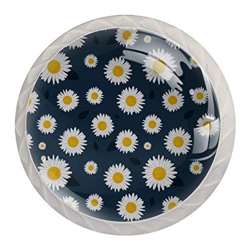 Set di 4 pomelli colorati multi design per ogni casa, cucina o ufficio, margherite con fiori, bianco, giallo, grigio scuro