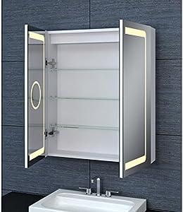 GLASSOLUTIONS Armadio da Toilette Alluminio–Modello Jaya 60–70cm x 60cm (HXL)