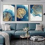 Póster de lienzo de arte de pared dorado abstracto nórdico y lienzo impreso para sala de estar decoración del hogar contratada 50x70cmx3 sin marco