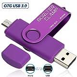 64GB Memoria USB, BorlterClamp Unidad Flash USB de Puerto Doble (USB 3.0 y Puerto Micro USB), OTG Memory Stick Pendrive para Smartphones, Tabletas y Computadoras (Morado)