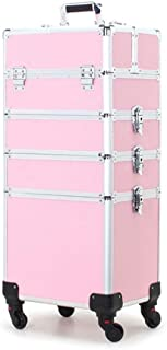 Makeup Box, 4 in 1 Aluminum Alloy Professional Makeup Trolley Makeup Box Beautician Large Travel Jewelry Box Train Box with 4 Wheels (Color: Black) (Color : Pink)