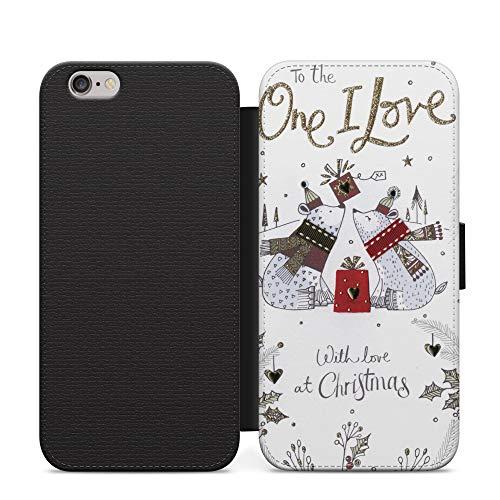 One I Love Christmas Folio de cuero sintético abierto libro cartera funda NFC para Samsung Galaxy S7 Edge