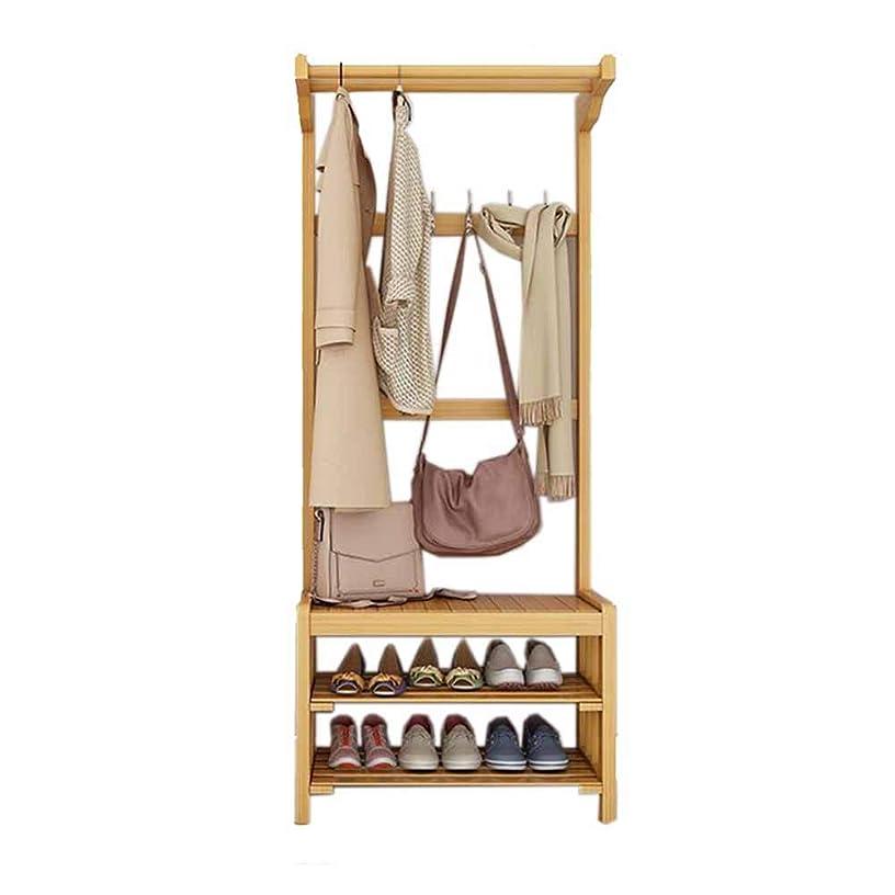 ロデオ可能オークZX コートハンガーコートラックスタンドハンガーストレージジャケットツZX ハンガーラック コートラック シューズベンチを交換する 靴箱 床置き シンプルでモダンな 家庭 竹 寝室 多機能 3 In 1 (色:木色) 収納家具 (Size : 70)