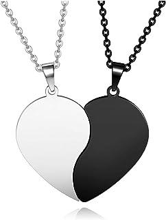 Zysta, collana in acciaio inox Yin Yang, ciondolo a forma di cuore, collana dell'amicizia, per coppie, Taichi Fengshui, co...