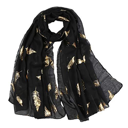 KAVINGKALY Federn Schal Rose Gold Glitter Folie Feder Print Damen Party Hochzeit Mode Wrap (schwarz)