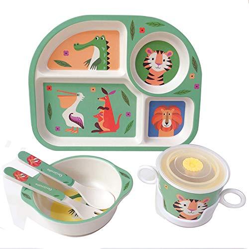 Shopwithgreen Kindergeschirr 5-Teiliges Sets mit Schönes Muster aus Bambus/Schüssel,Löffel, Gabel, Tasse,Menüteller/für Kleine Kinder, BPA- und Phthalatfrei, Spülmaschinengeeignet