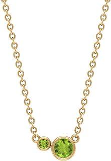 3 MM Solitaire Peridot Pendant, Bezel Set Pendant Necklace, Solid Gold Chain Necklace for Women