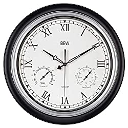 BEW Large Outdoor Clock, 18 Inch Waterproof Garden Clock with Thermometer and Hygrometer Combo, Weather-Resistance Silent Metal Clocks for Patio, Pool, Lanai, Fence, Porch (Roman Numerals)