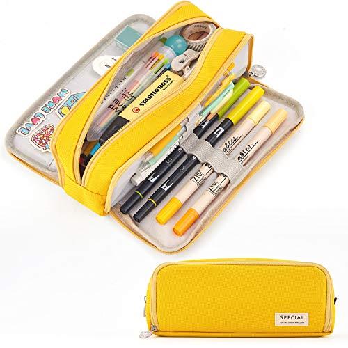 CICIMELON Large Capacity Pencil Case 3 Compartment Pouch Pen Bag for School Teen Girl Boy Men Women (Yellow)