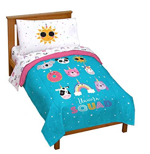 Jay Franco Trend Collector Unicorn Squad 4 Piece Toddler Bed Set - Includes Comforter & Sheet Set - Super Soft Fade Resistant Microfiber Bedding