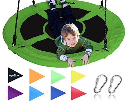 Royal Oak Saucer Tree Swing ,Giant 40 Inches with Carabiners and Flags, 700 lb Weight Capacity, Steel Frame, Waterproof, Easy to Install with Step by Step Instructions, Non-Stop Fun! (Green)