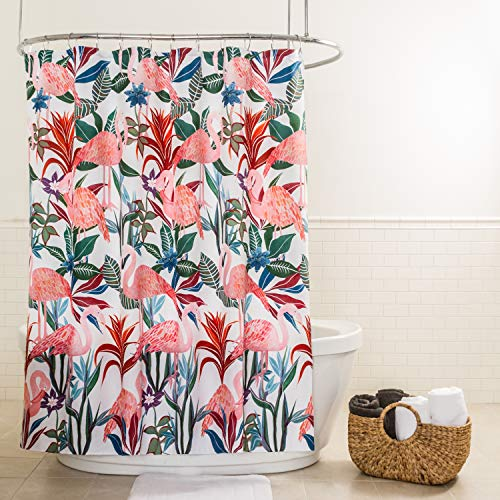 "Splash Home 71TROPI/OPPNKSPL Tropicana Flamingo Polyester Fabric Shower Curtain, 70"" x 72"", Pink/Blue"