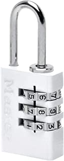 Master Lock 7620EURDWHI Combination Padlock in Aluminium, White, 2 x 5.5 x 0.9 cm