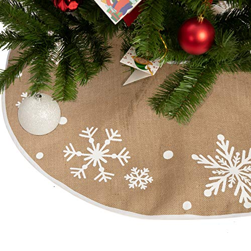 Christmas Tree Skirt with Snowflakes, 36' Rustic Tree Skirt Decoration for Xmas Home Holiday Seasonal Decors
