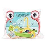Chnrong Bassin à linge électrique en forme de grenouille - Jouet avec eau courante - Robinet automatique - Jeu de rôle - Cadeau pour enfants garçons et filles