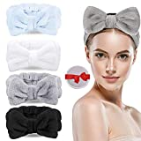 [4 Pack] Spa Headband Bowknot Hair Bands, LauCentral Coral Makeup Headband Elastic Head Wrap for Washing Face, Spa, Beauty(White, Gray, Baby Bule, Black)