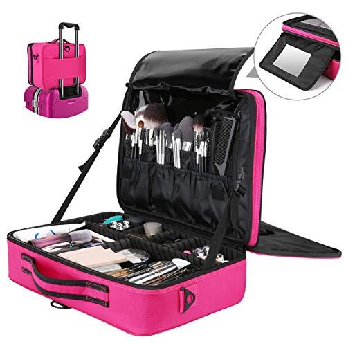 Luxspire Make-up Aufbewahrungsbox, Multifunktion Wasserdicht Kosmetika Etui Oxford Kosmetikbeutel Reißverschluss Schultergurt Verstellbar Aufbewahrungstasche für Damen Maskenbildner - Rose Rot