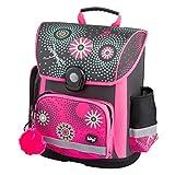 Baagl Schulranzen Mädchen 1. Klasse - Ergonomische Schultasche für Kinder - Grundschule Ranzen - Schulrucksack mit Brustgurt (Blumen)